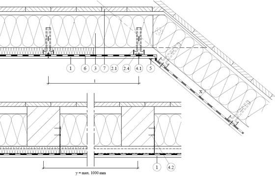 Rigips обшивка на скатен покрив на метална конструкция от Rigips CD профили монтирани с окачвачи за дърво 4.70.14a