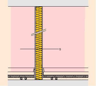 Гипскартонова преградна стена с изолация ISOVER с единична метална  щендерна конструкция и еднослойна обшивка